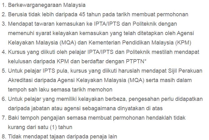 Syarat umum untuk memohon pembiayan pinjaman PTPTN