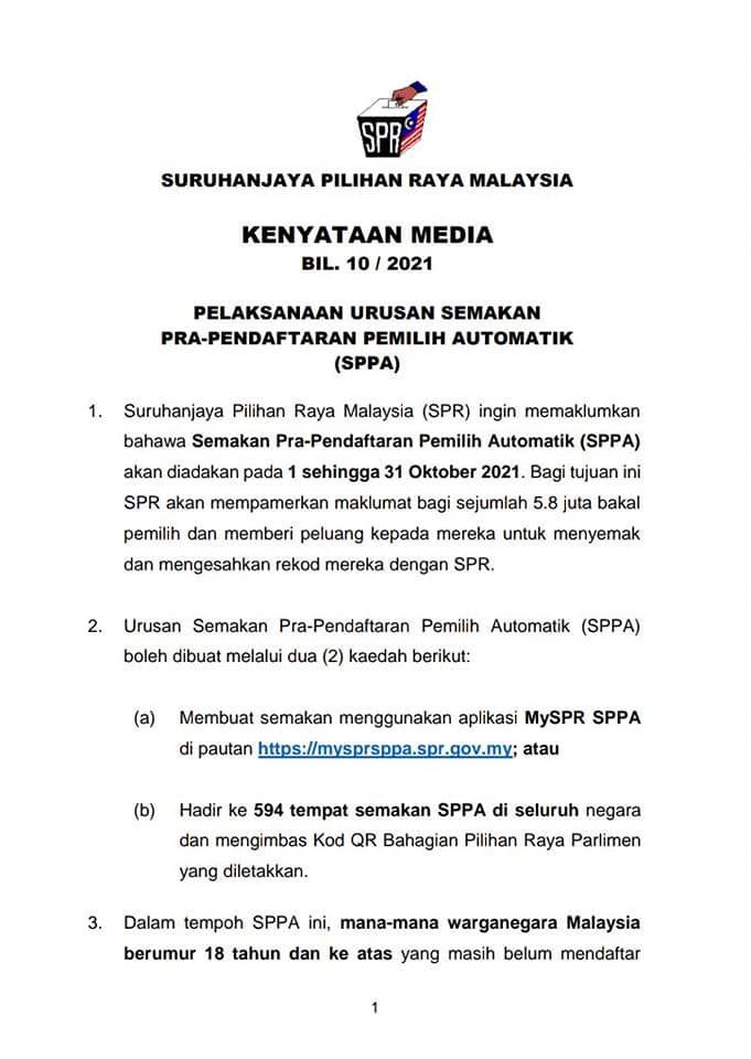 Semakan MySPR SPPA